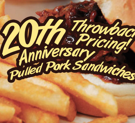 20th Anniversary Throw Back Pulled Pork Sandwiches