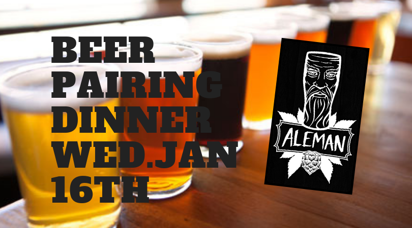 Aleman Brewing Beer Pairing Dinner